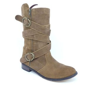 Restricted Brown Suede Mid Calf Boots